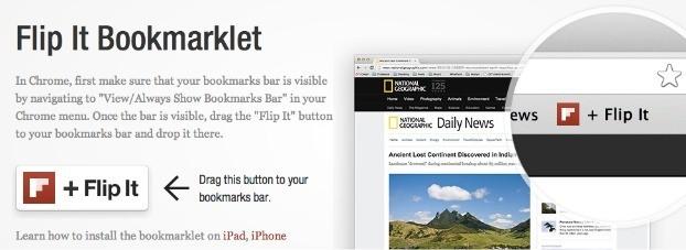 Le bouton Flip it permet d'ajouter du contenu dans Flipboard
