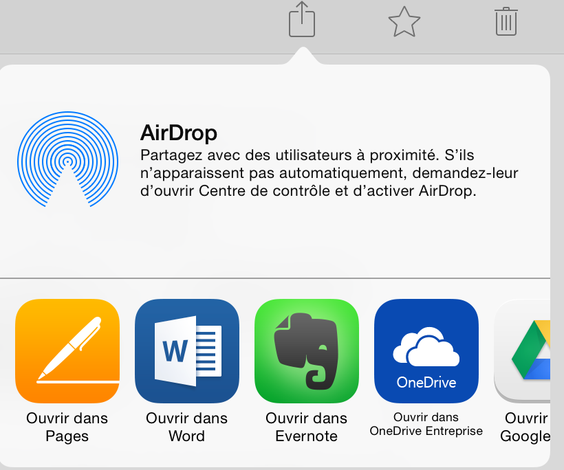 Ouvrir un document de Dropbox vers Office sur iPad