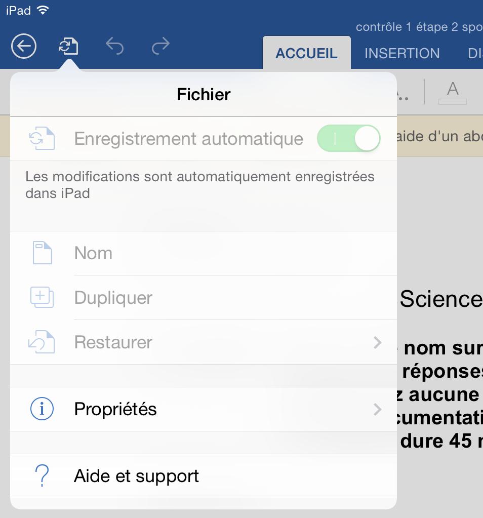Word et enregistrement sur iPad