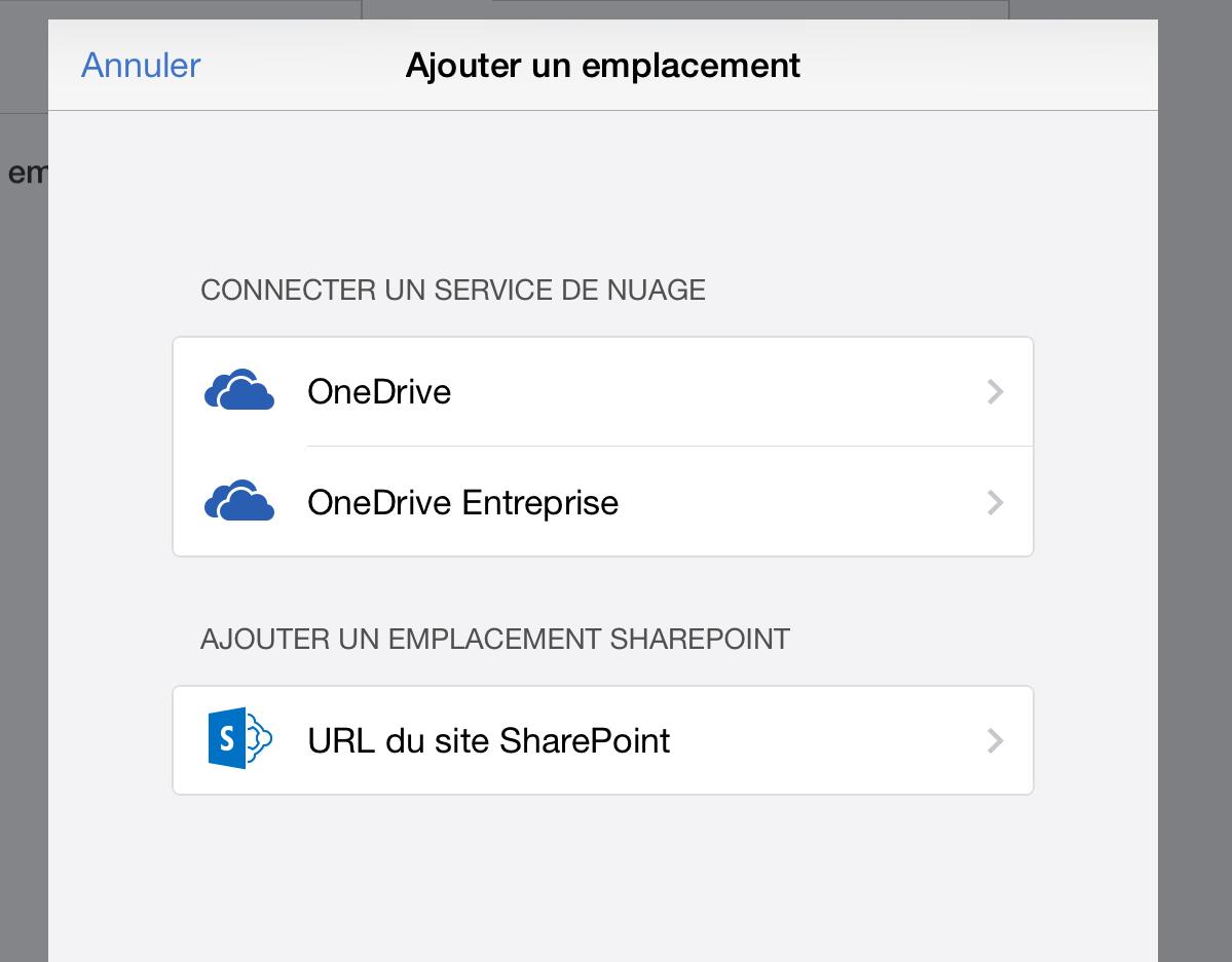 OneDrive avec la suite Office sur iPad